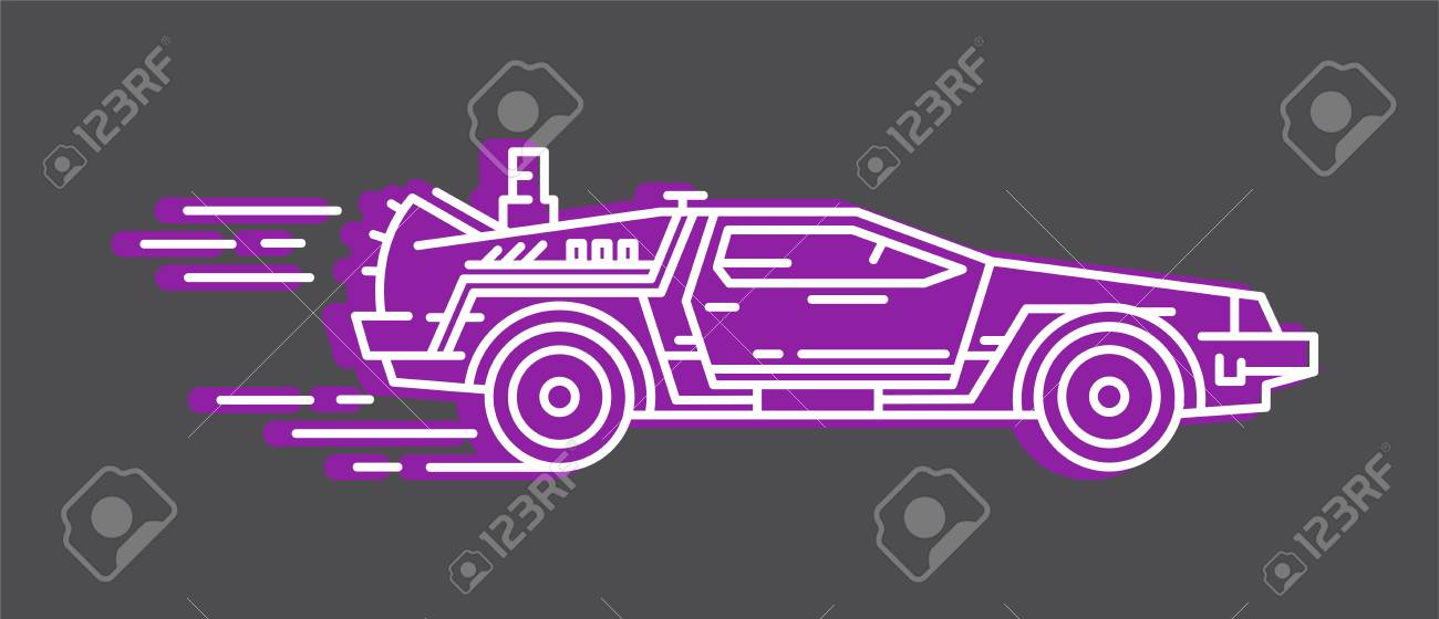 A Delorean Isolated On Plain Background Royalty Cliparts 1300x560