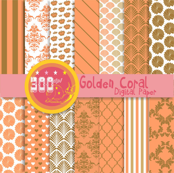 Coral digital paper coral and gold backgrounds golden coral 14 570x569