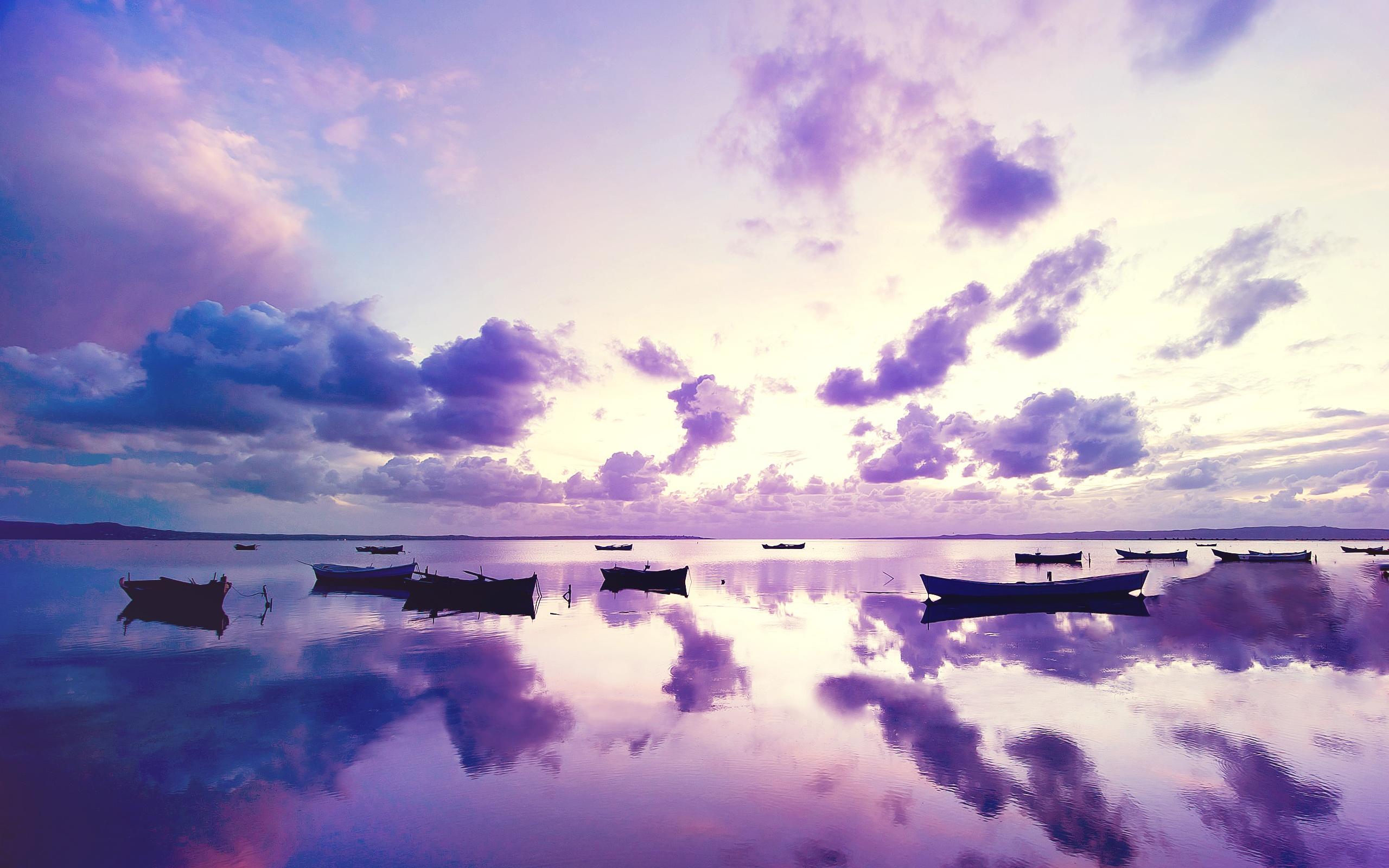 Purple Sunset Ocean HD Wallpaper 2560x1600