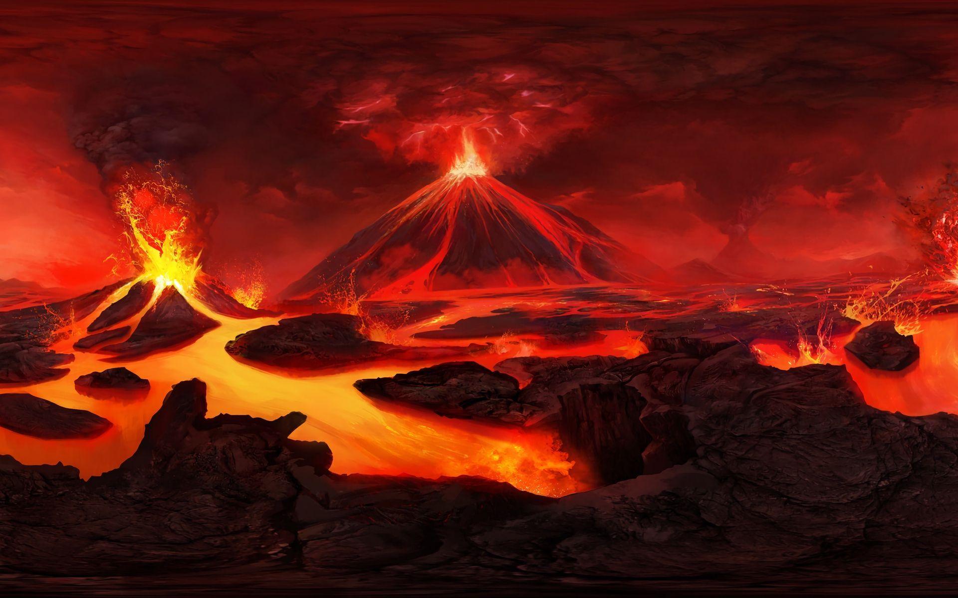 Volcano Art Wallpapers   Top Volcano Art Backgrounds 1920x1200