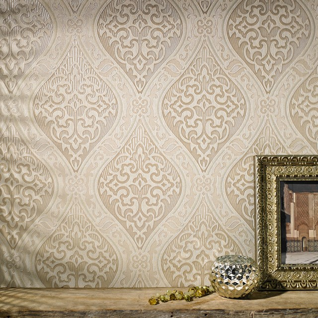 Labyrinth Cream Gold   Modern   Wallpaper   by Graham Brown 640x640
