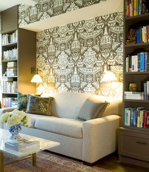 from fabric to wallpaper easily removable and a great look cant 490x565