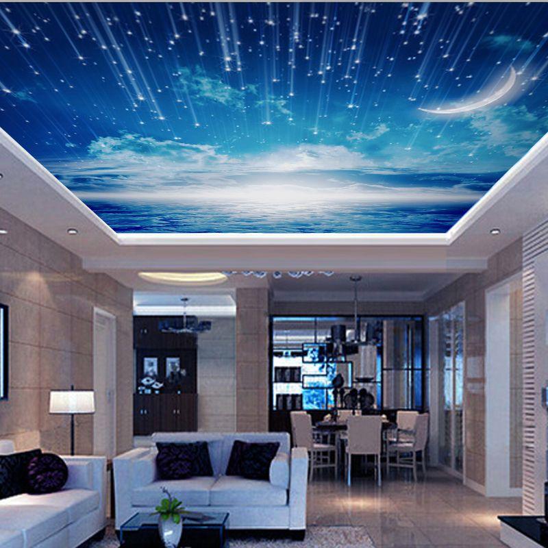 Cheap Venta al por mayor cielo azul 3d de pared y techo murales 800x800