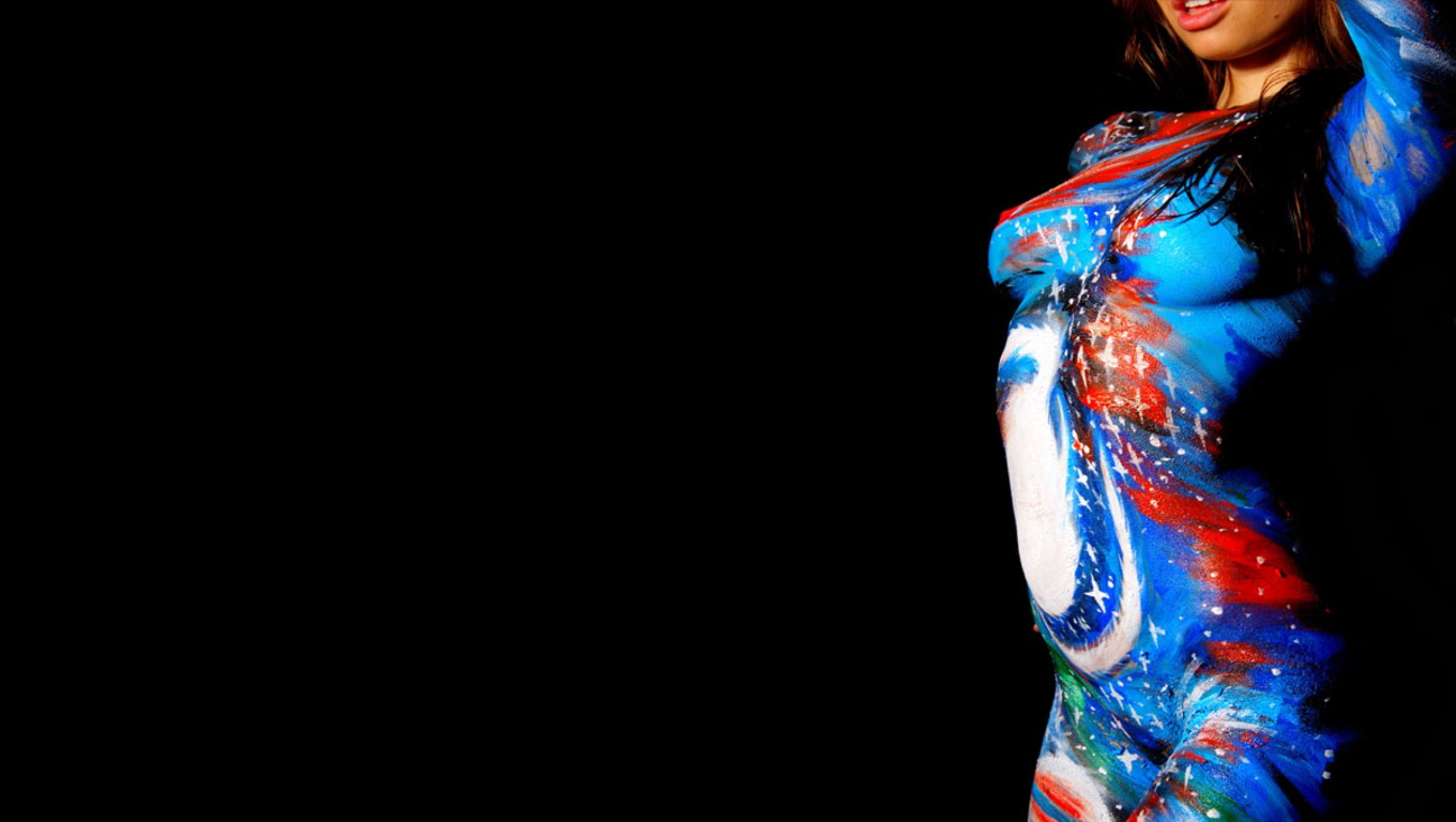 SEXY GIRLS BODY PAINTING Top 6 Body Painting Wallpaper 1360x768