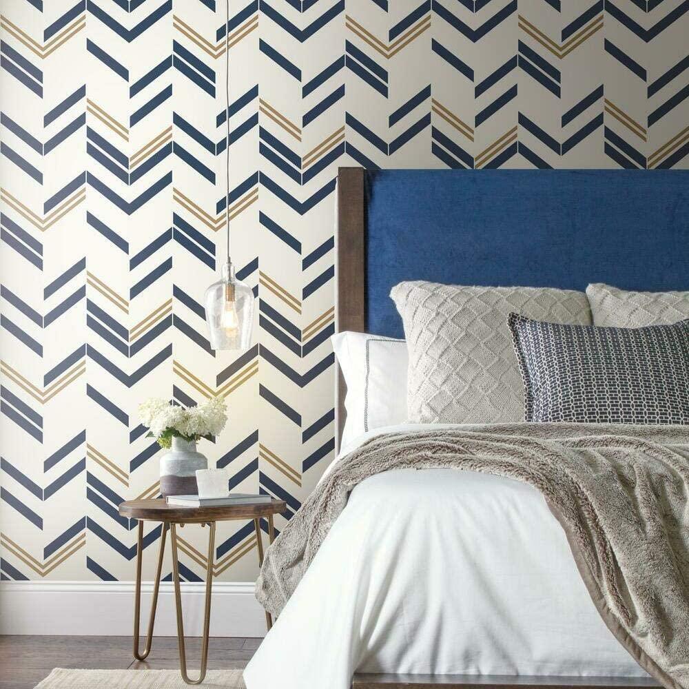 RoomMates RMK9002WP Blue and Metallic Gold Chevron Stripe Peel and 1000x1000