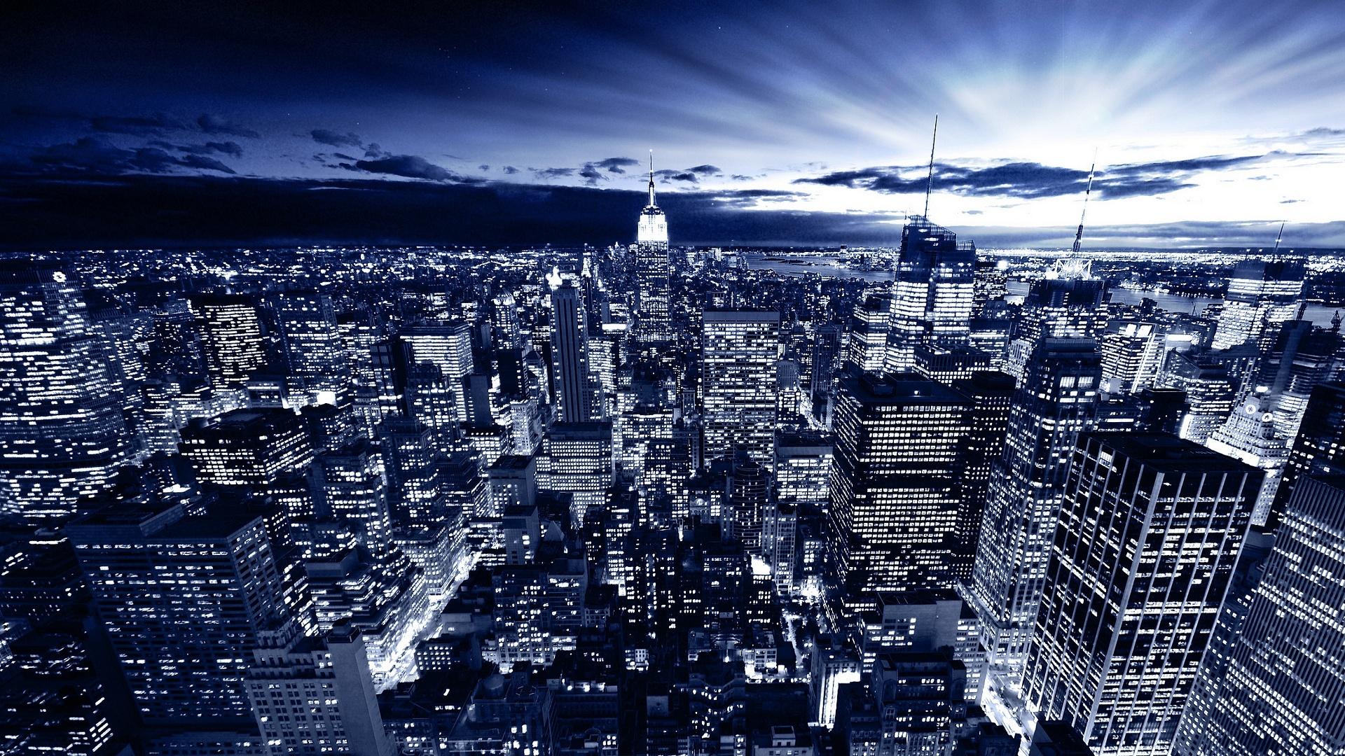 new york in blue cityscape wallpaper Desktop Backgrounds for HD 1920x1080