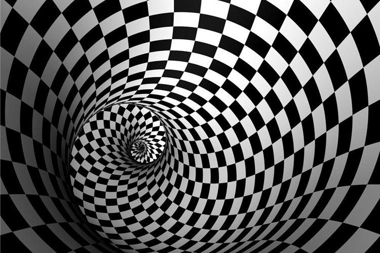 3D Swirl Maze Black and White Wallpaper 750x500