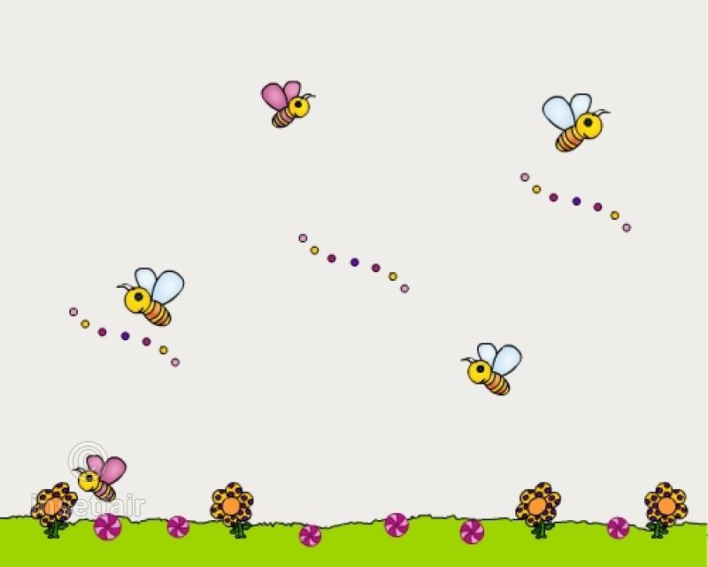 Kindergarten wallpaper with flowers and honey bee 800x640