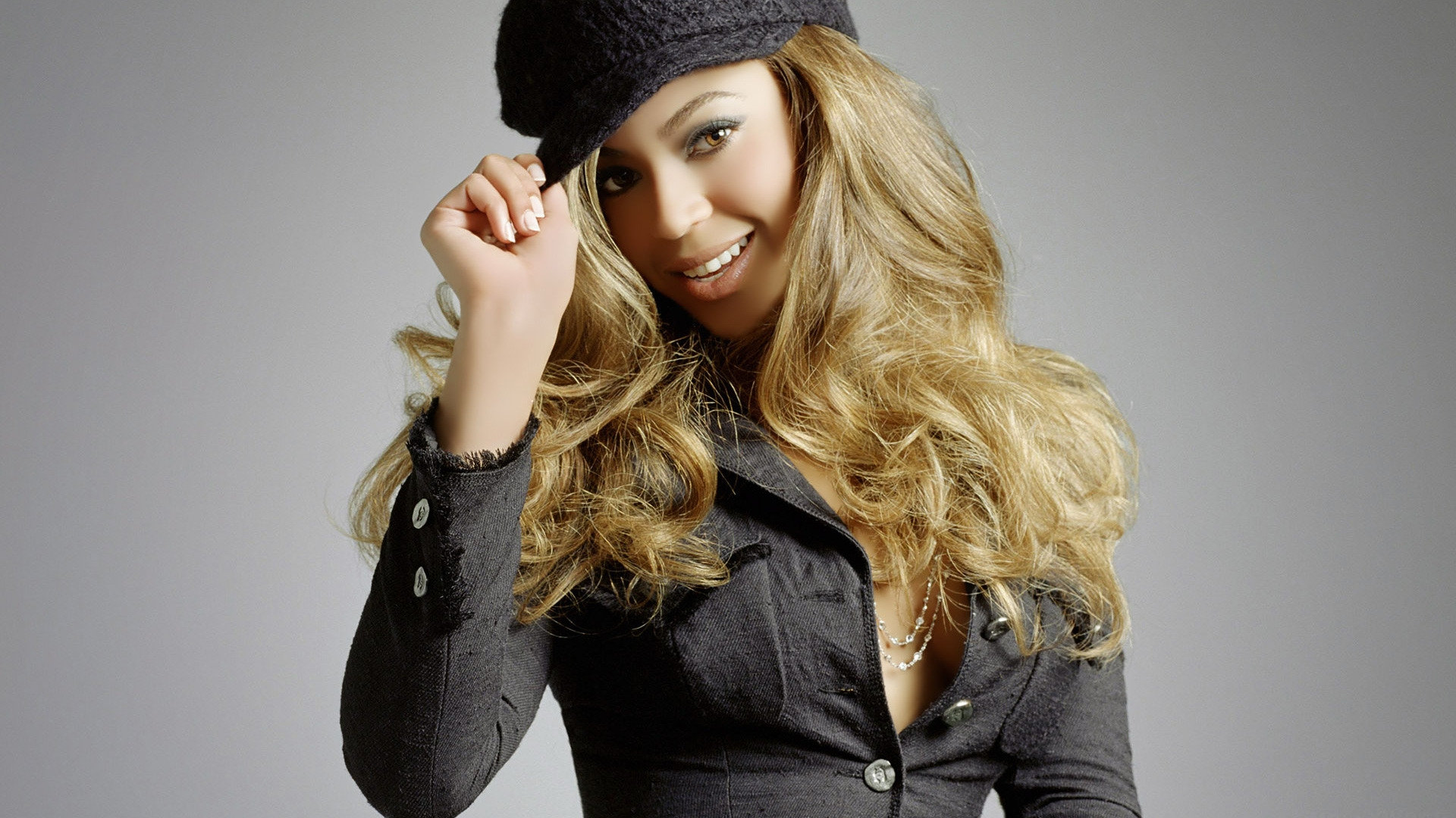 Full HD Wallpaper beyonce long hair hat smile Desktop 1920x1080