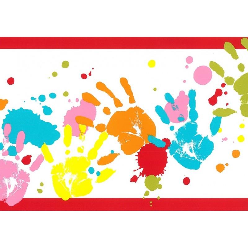 Home Kids Club Handprints Wallpaper Border by Rasch 232202 800x800