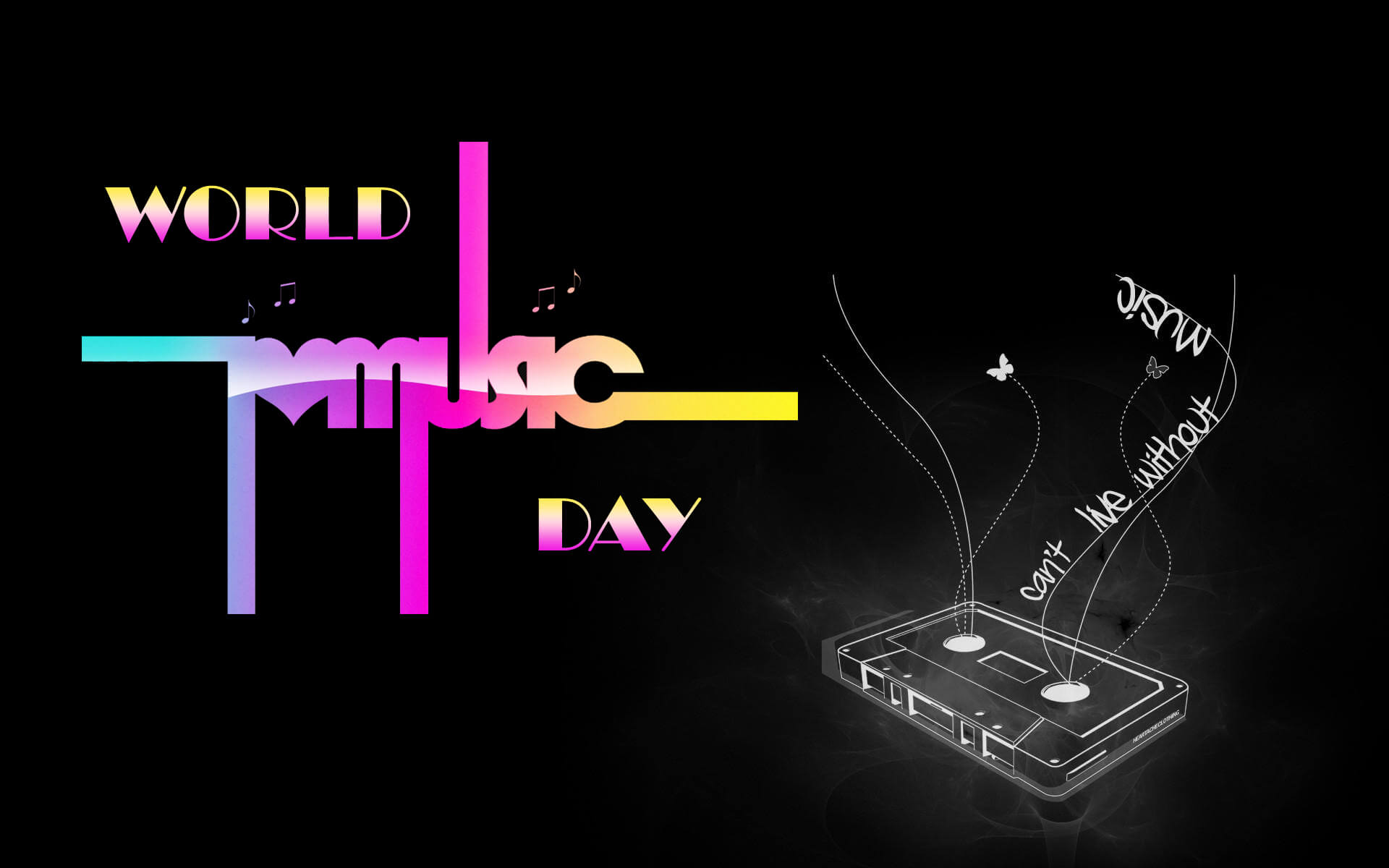 Happy World Music Day Cassette Hd Wallpaper 1920x1200