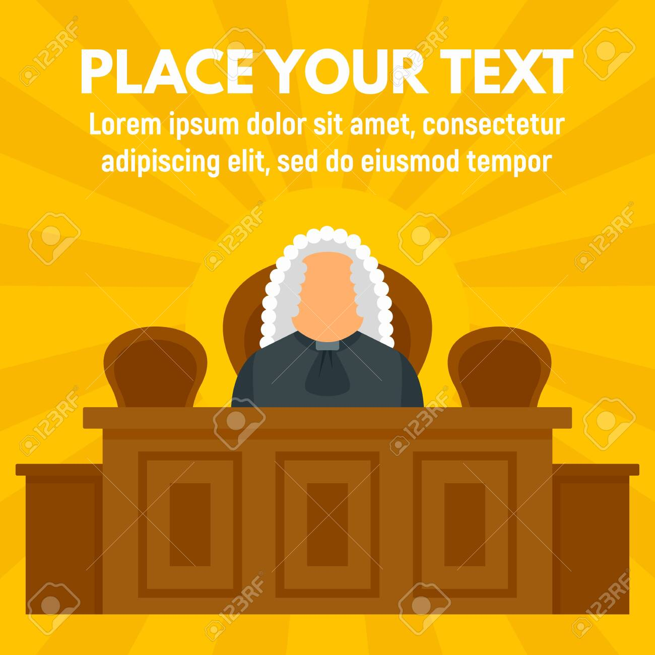 Judge Courthouse Concept Background Flat Style Stock Photo 1300x1300