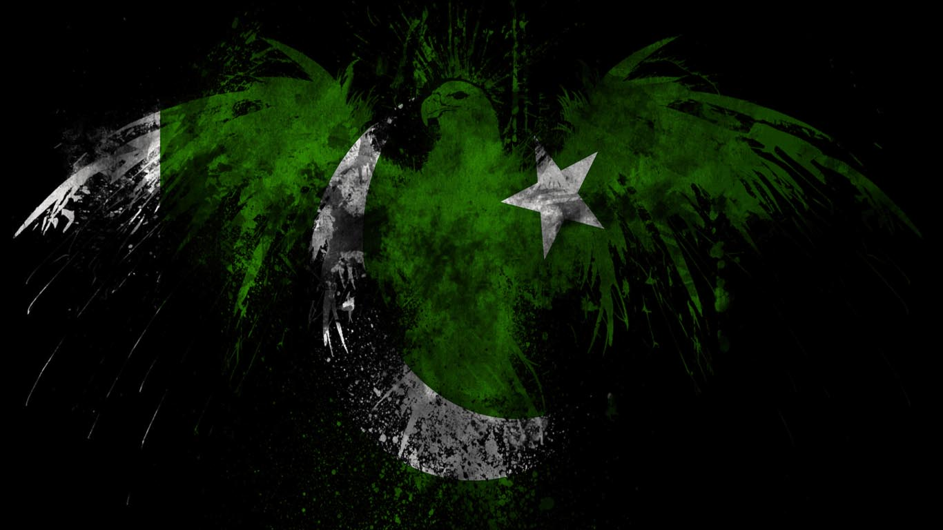 14th August Pakistan Eagle Flag Independence Wallpaper 1366x768