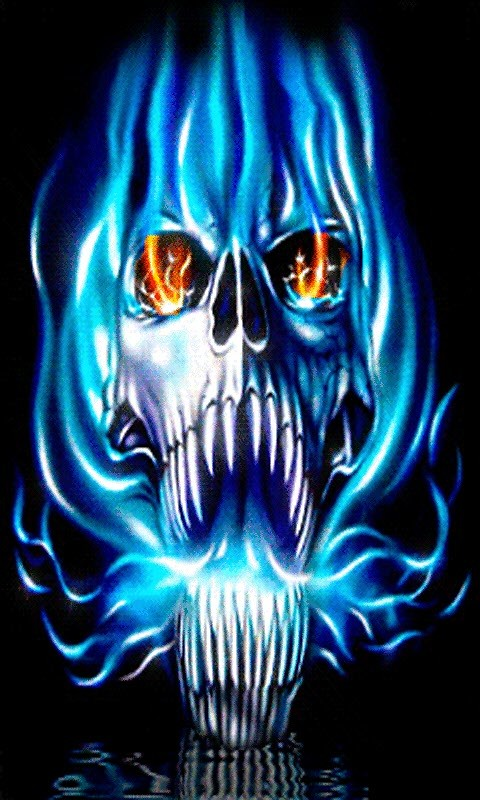 Green Flaming Skull Wallpaper   Wallpapers 480x800