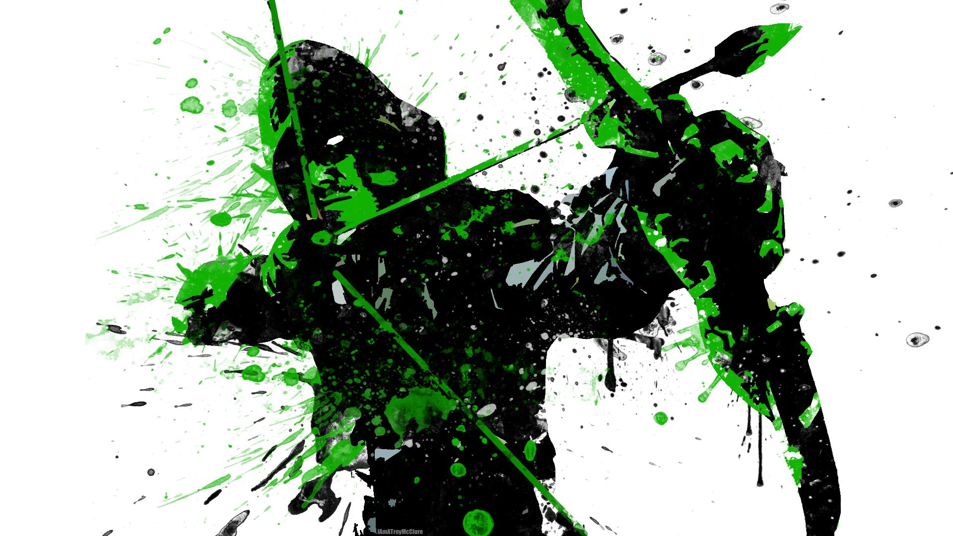 Green Arrow Splatter Paint by IAmATroyMClure 1920x1080