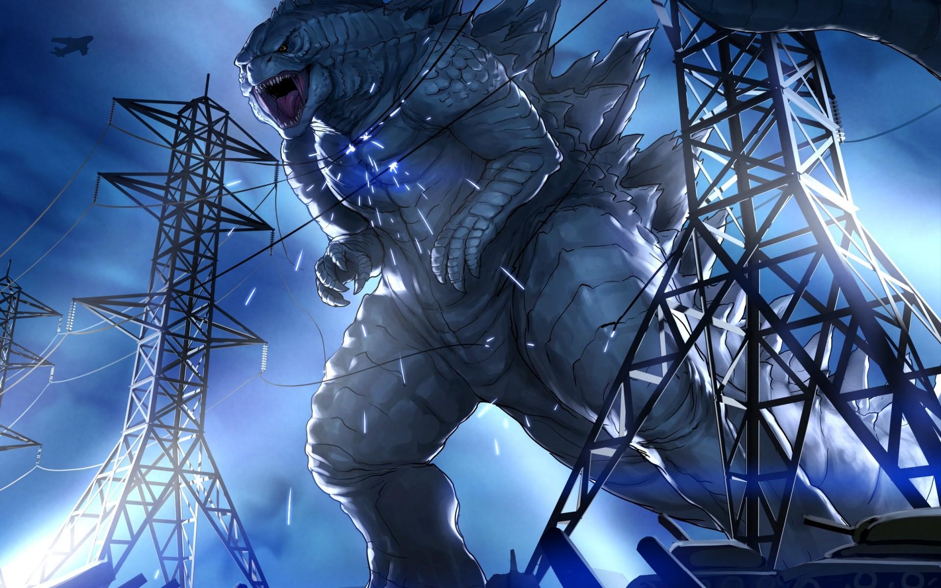 Godzilla wallpaper art destruction angry 1920x1200