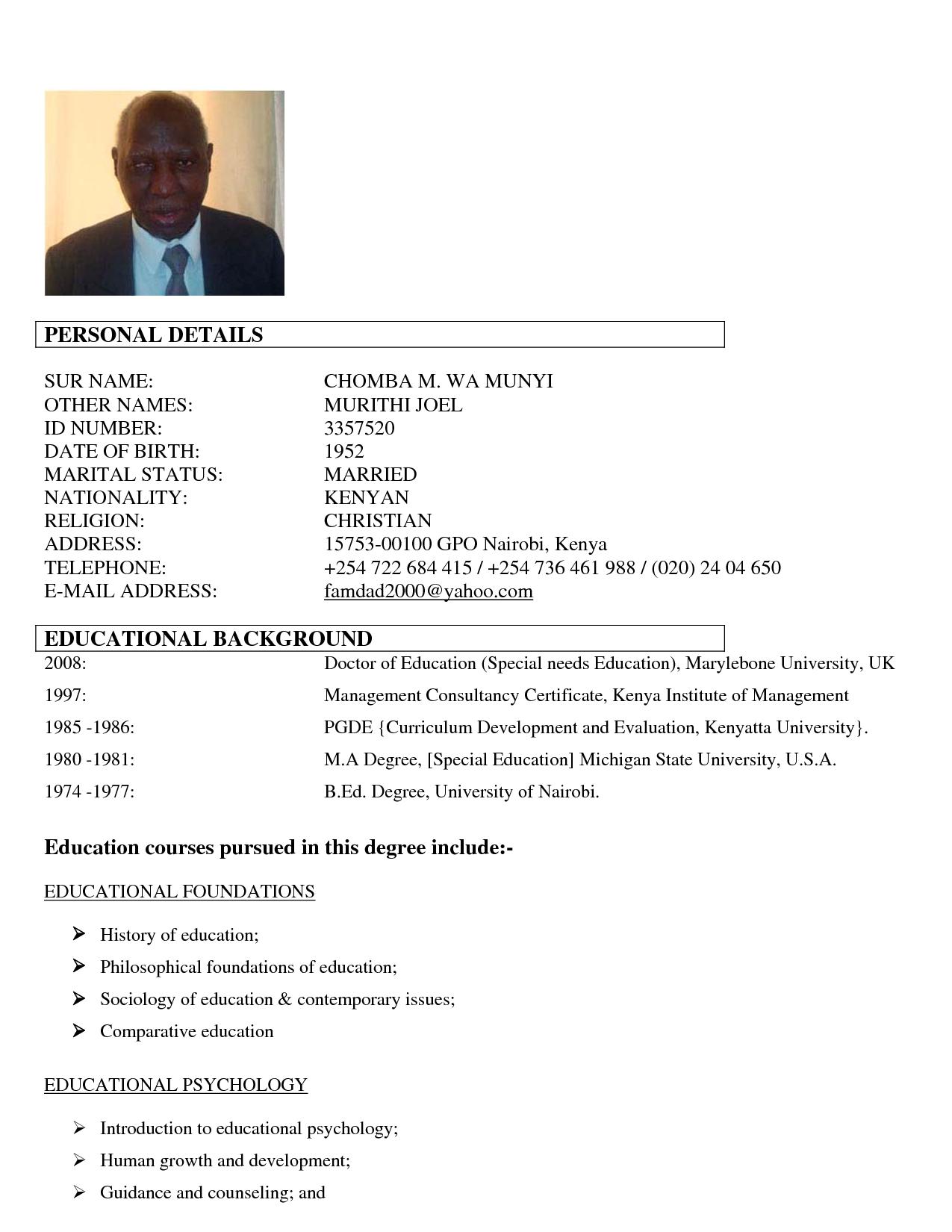 Educational Background Resume Sample