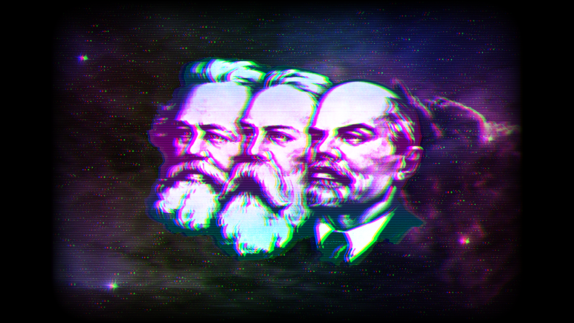 Marx Engels Lenin wallpaper original artwork at labourwave 1920x1080