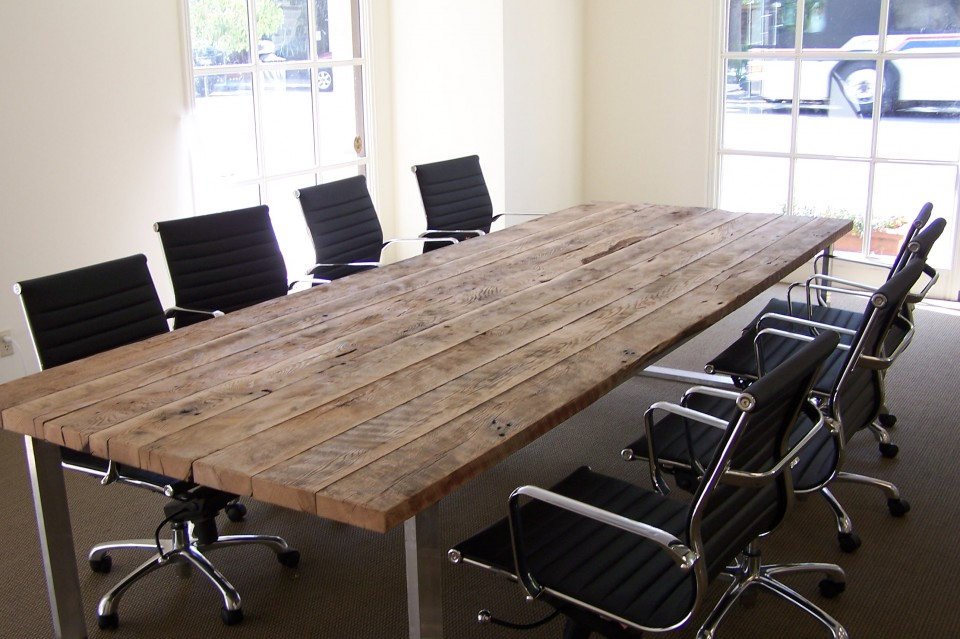 Reclaimed Wood Table Antique Oak Conference Table Blacks Farmwood 960x639
