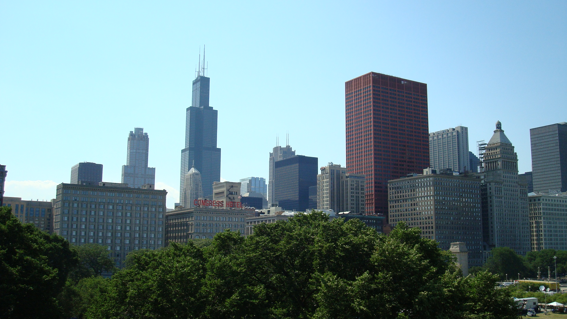 66 chicago skyline wallpapers on wallpapersafari - Chicago skyline wallpaper 1920x1080 ...