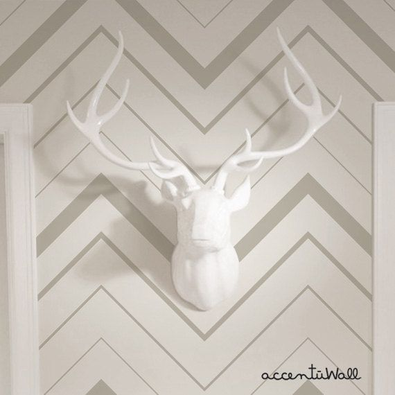 Chevron Bold Grey Peel Stick Fabric Wallpaper by AccentuWall  accent 570x570
