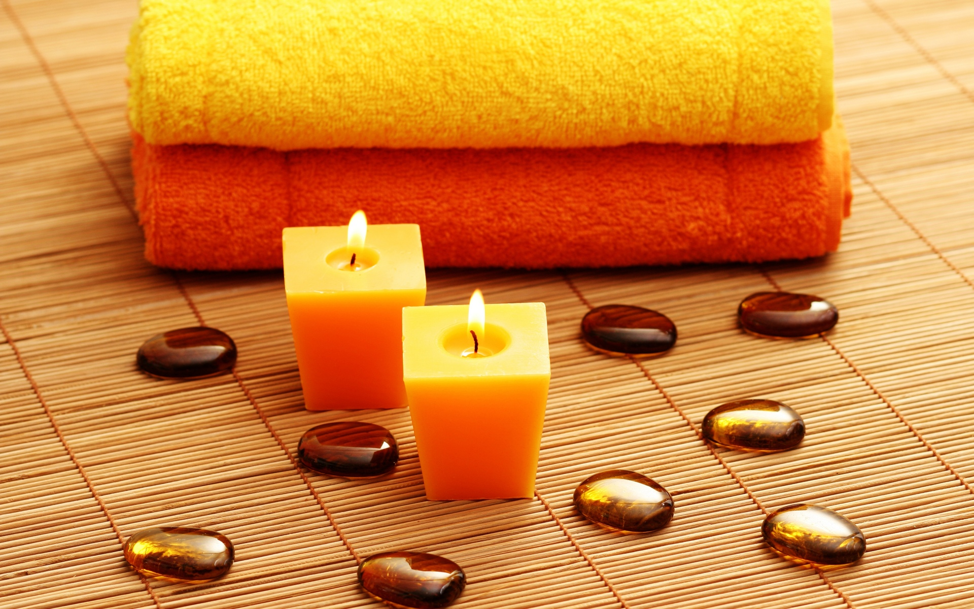 candles spa stones spa bokeh mood fire flames zen wallpaper background 1920x1200