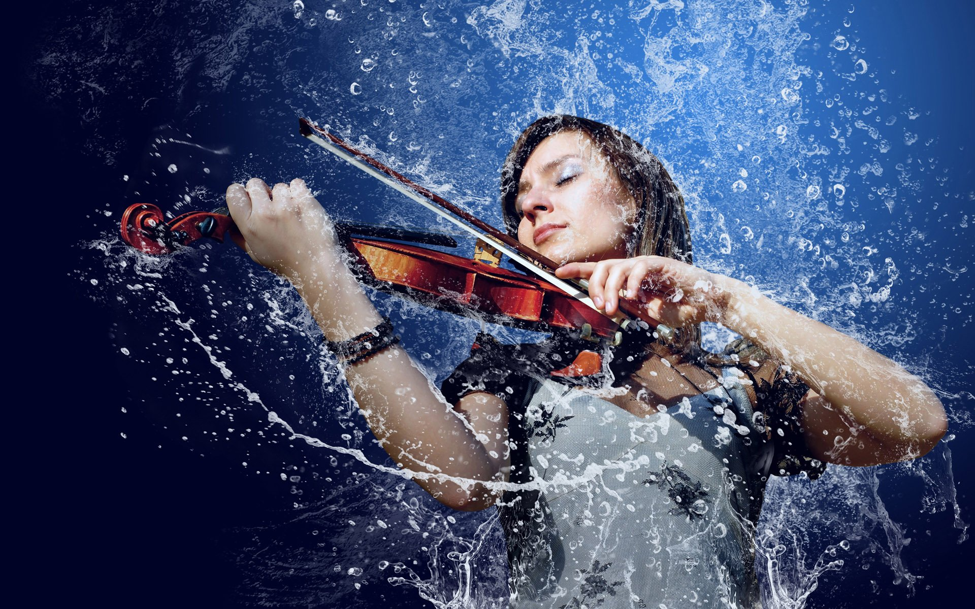 Girl violin water wallpapers and images   wallpapers pictures photos 1920x1200