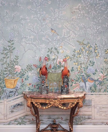 Hand painted Mural Wallpapers Silk Wallcoverings   Eastern Classical 462x560