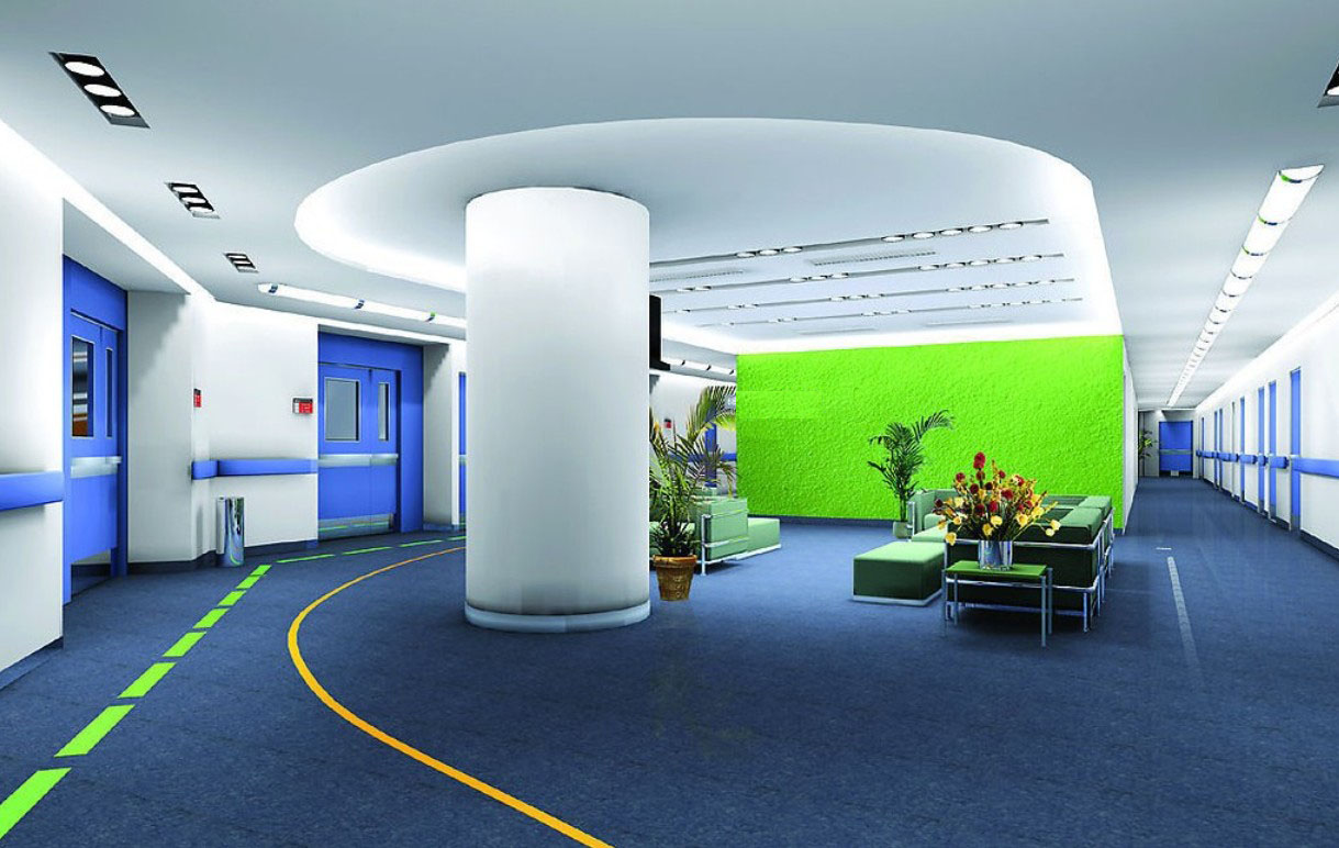 Blue interior design of company office 3D house 3D house 1219x772