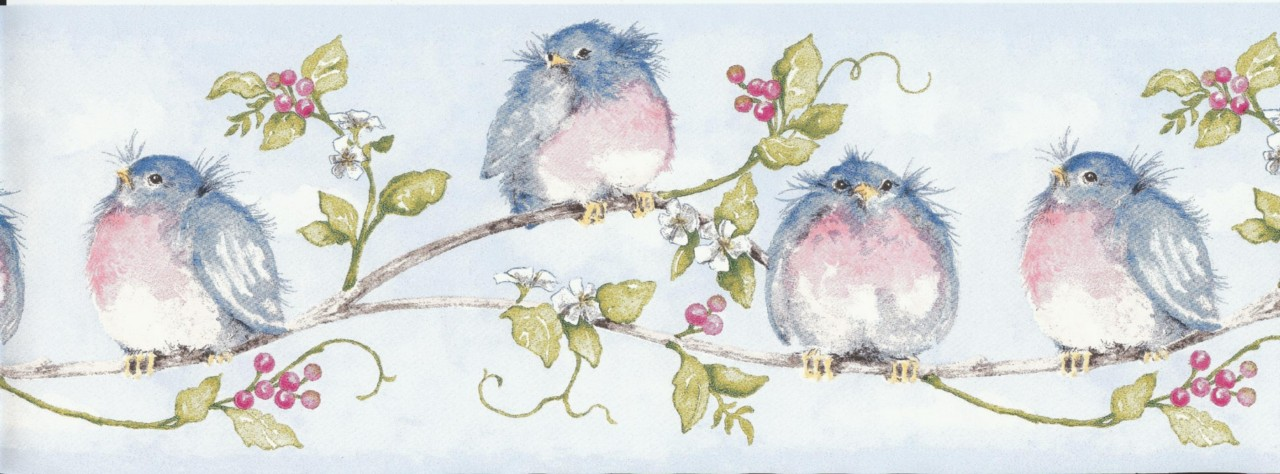 Details about Wallpaper Border Chubby Blue Birds On Vine 1280x474