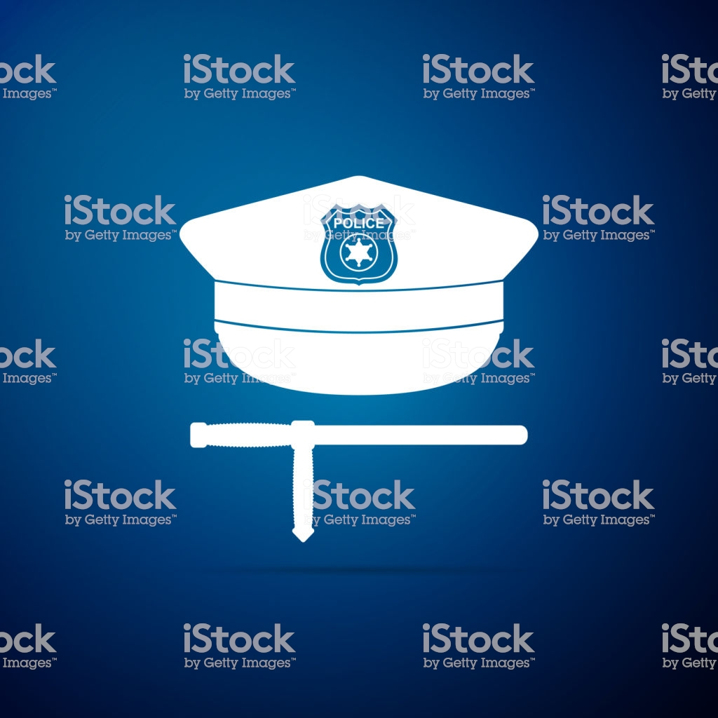 Police Cap And Rubber Baton Icon Isolated On Blue Background 1024x1024