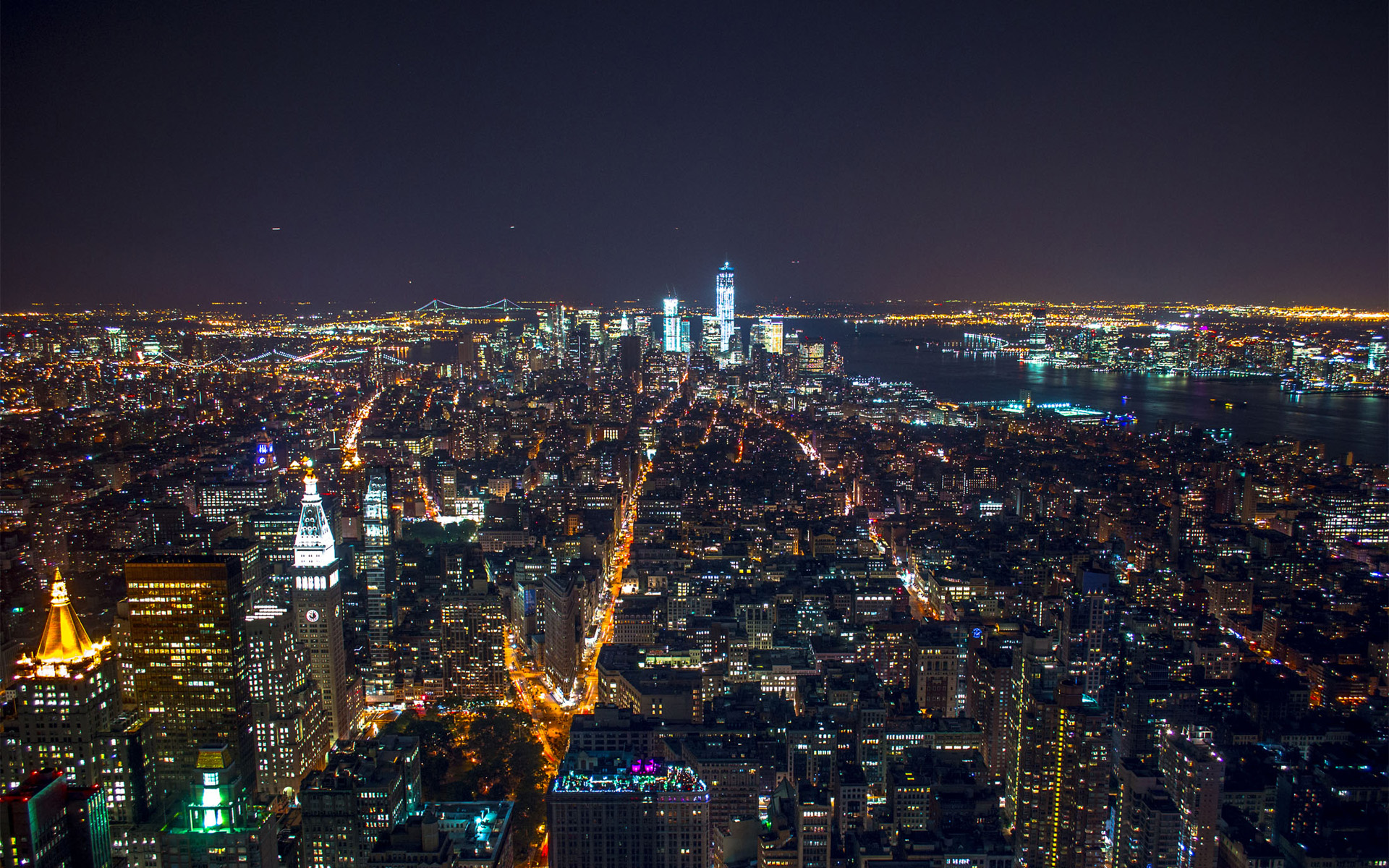 New York Manhattan At Night HD wallpaper Digitalhintnet 1920x1200