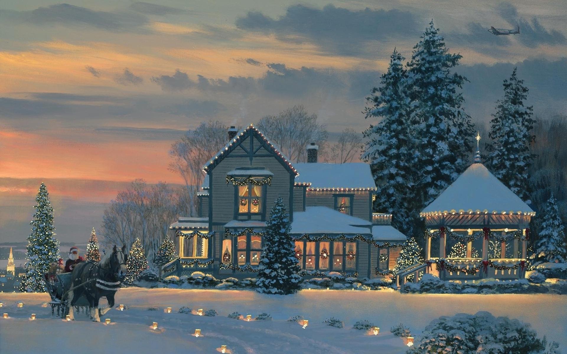 Christmas house painting - Christmas House Santa Claus Hd Wallpaper 1024x640 Christmas House