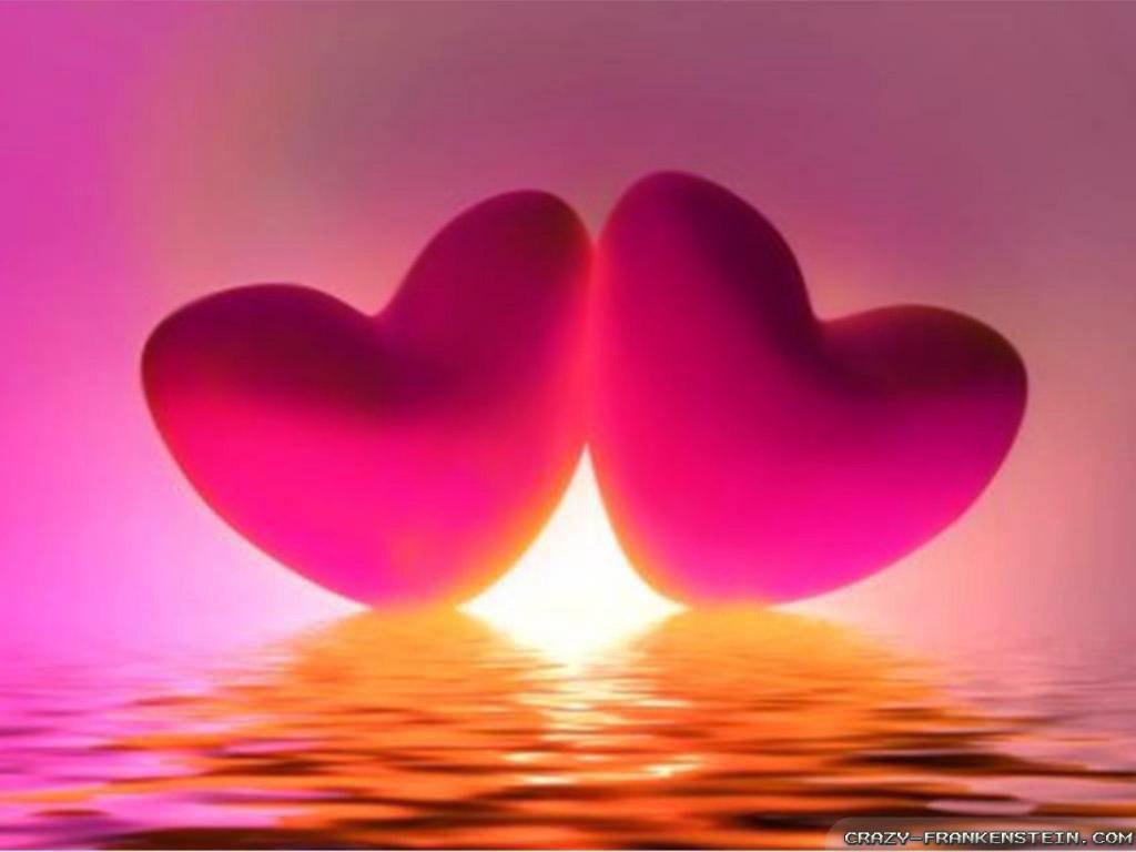 Pink Sunset Romantic Heart Wallpapers   1024x768 iWallHD   Wallpaper 1024x768