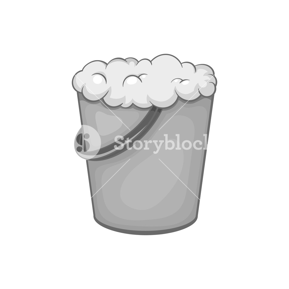 Bucket of foam icon in black monochrome style isolated on white 1000x1000