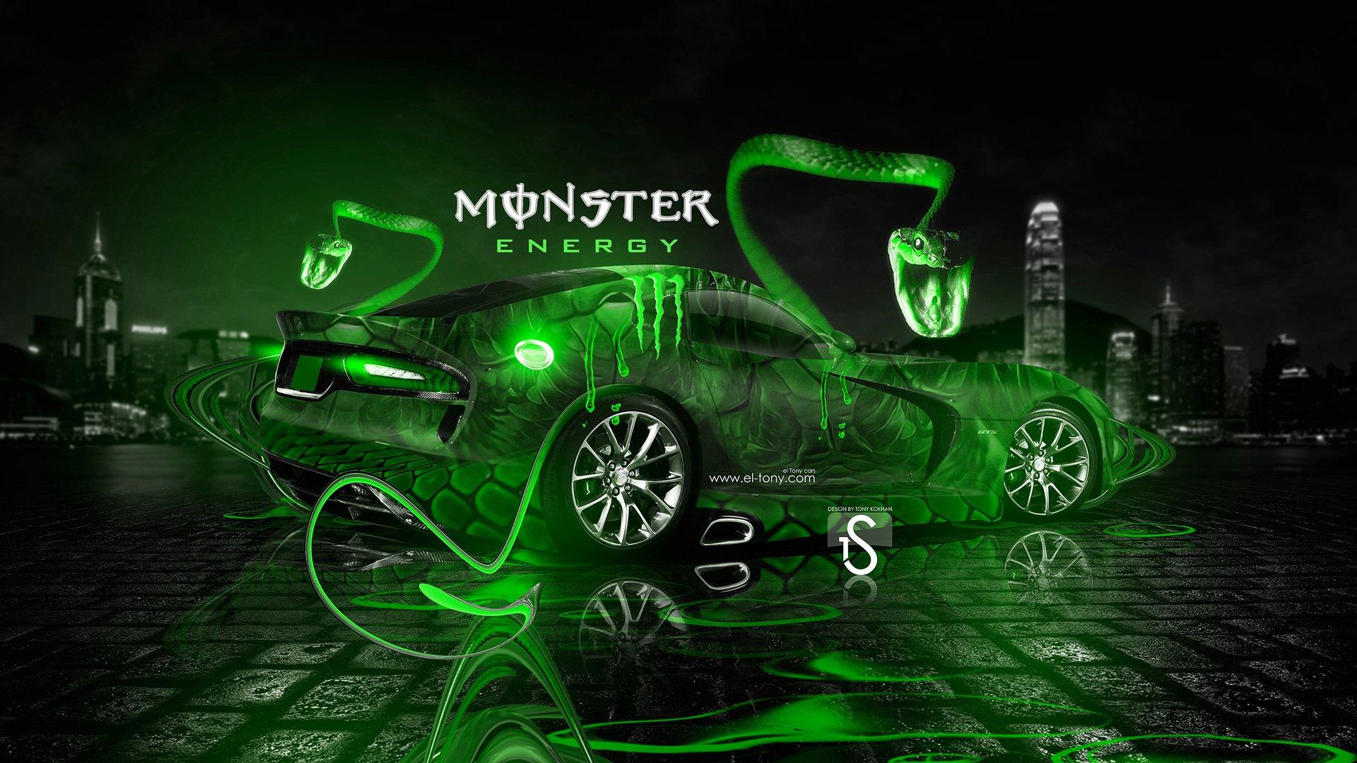 Monster Energy Dodge Viper SRT V Fantasy Snake City Car 2013 Green 1920x1080