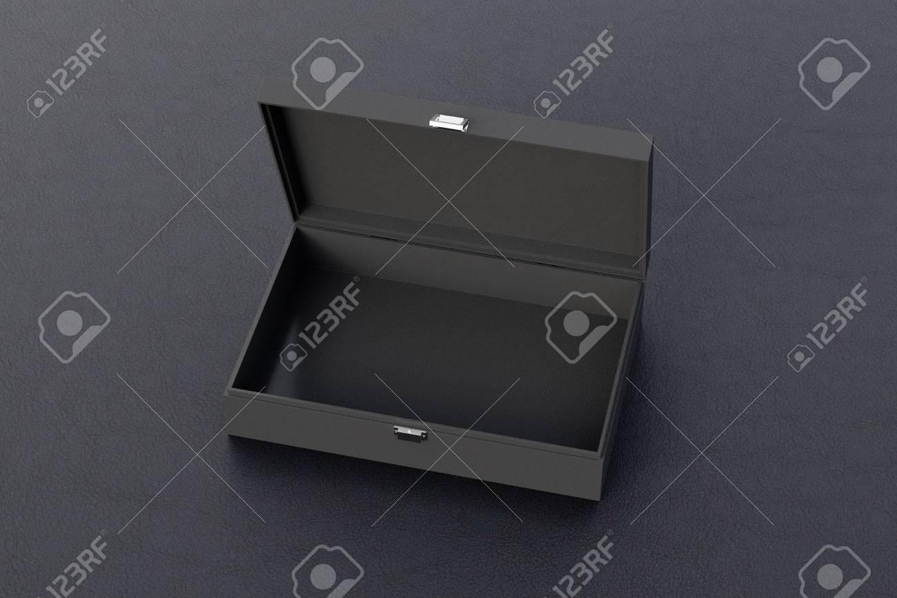 Black Open Empty Long Box Or Casket On Black Background 3d 1300x866
