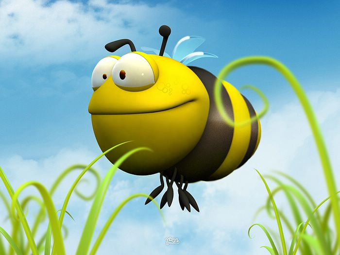 Funny 3D Animal Cartoons   3D Fat Bee   Funny 3D Cartoon Bee Wallpaper 700x525
