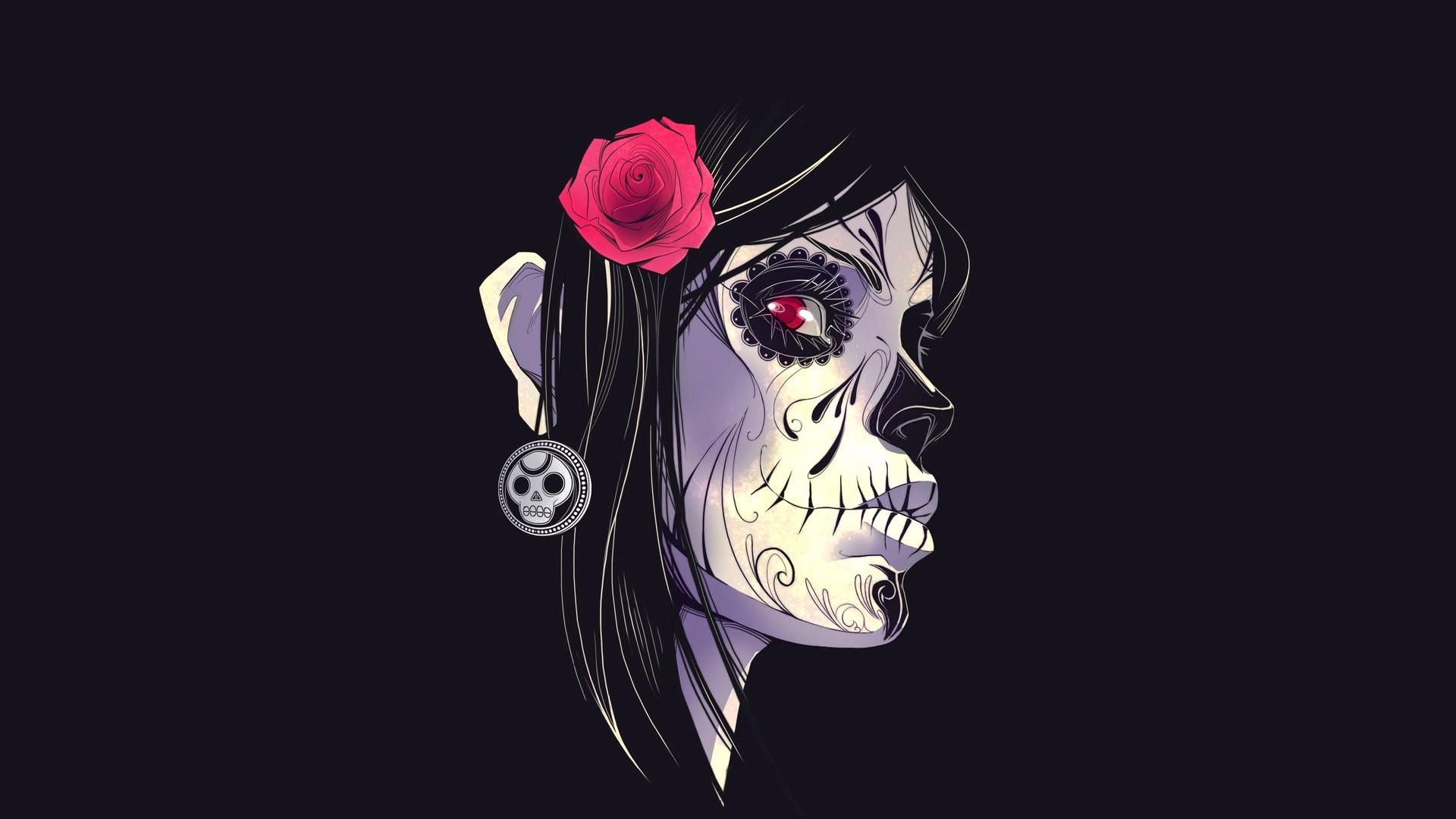 Flower Black gothic skull wallpaper 1920x1080 220051 WallpaperUP 1920x1080