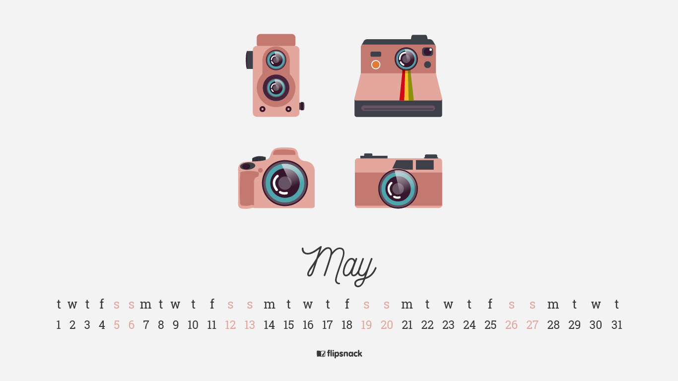 May 2018 calendar wallpaper for desktop smartphone 1366x768