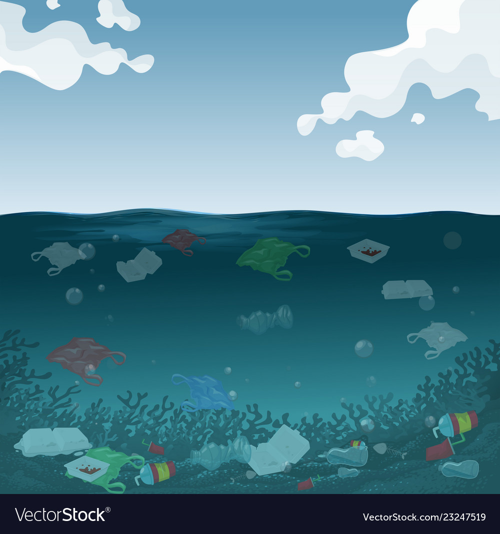 An marine pollution background Royalty Vector Image 1000x1068