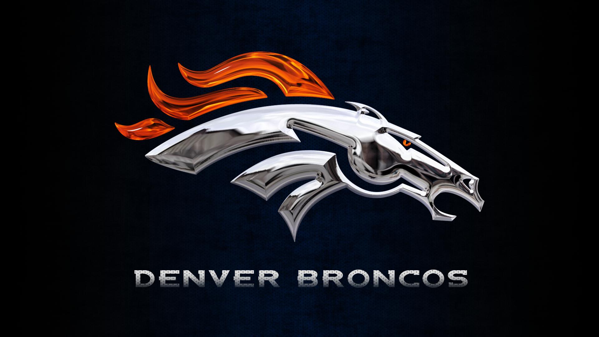 Denver Broncos Chrome Logo Wallpaper 1920x1080