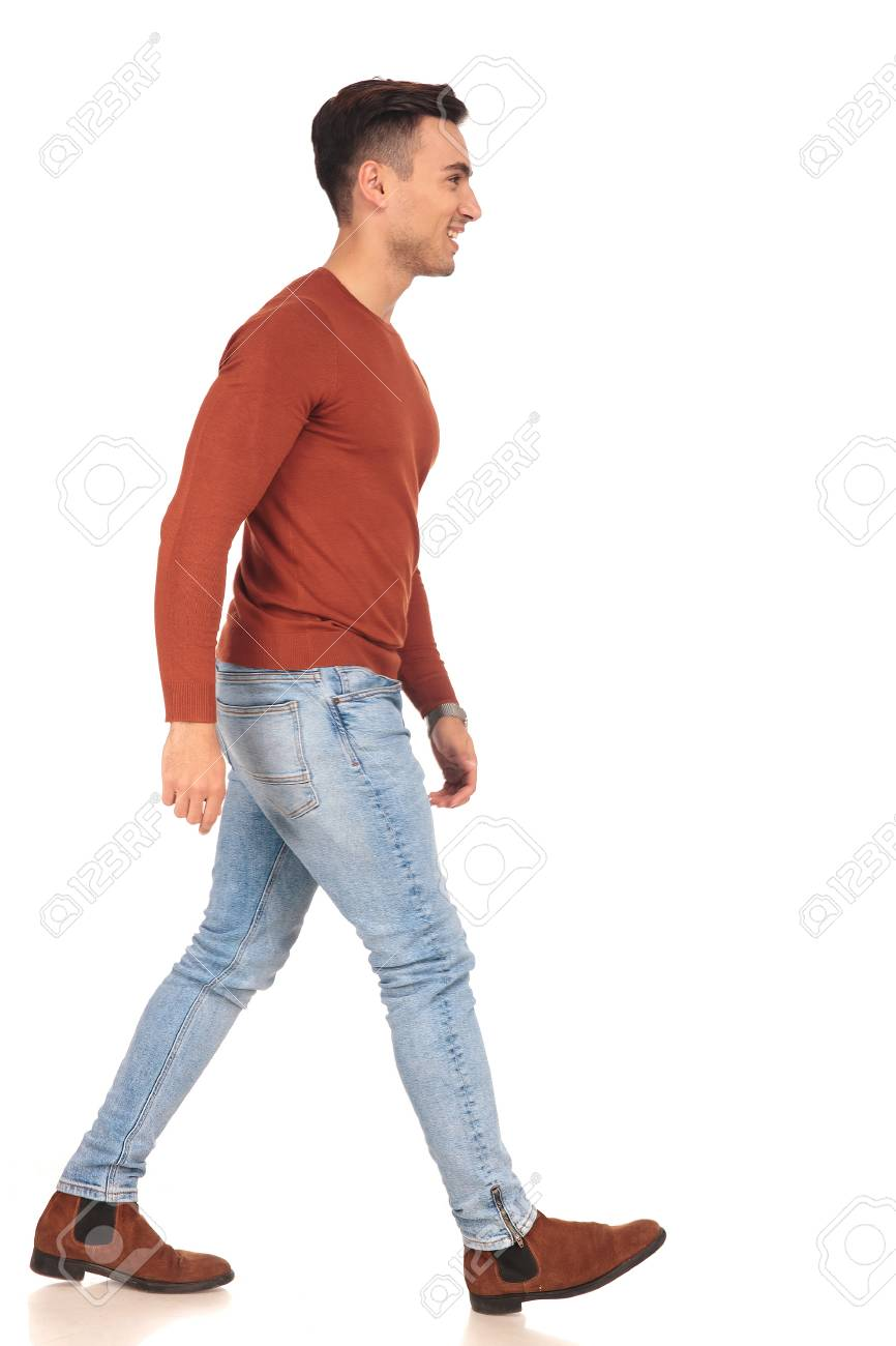 Side View Of A Fit Casual Man Walking On White Background Stock 866x1300