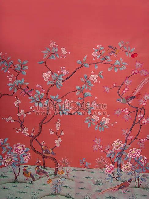 China Hand Painted Wallpaper WP 001   China Wallpaper Silk 487x648