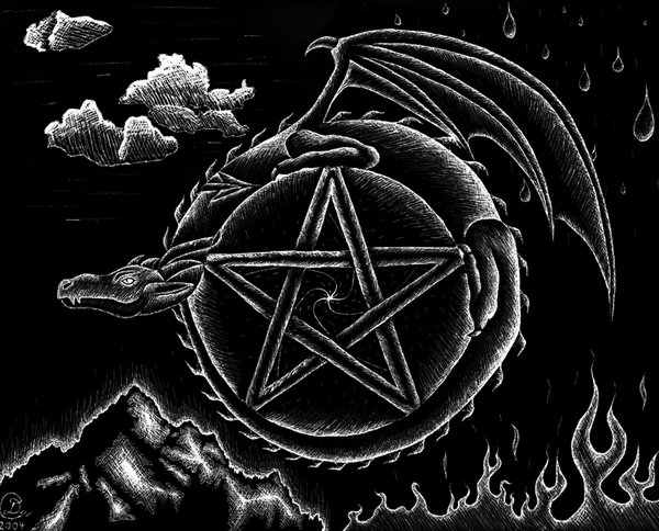 Cool Wiccan Pentagram Wallpaper Dragon pentagram by batdans 600x484