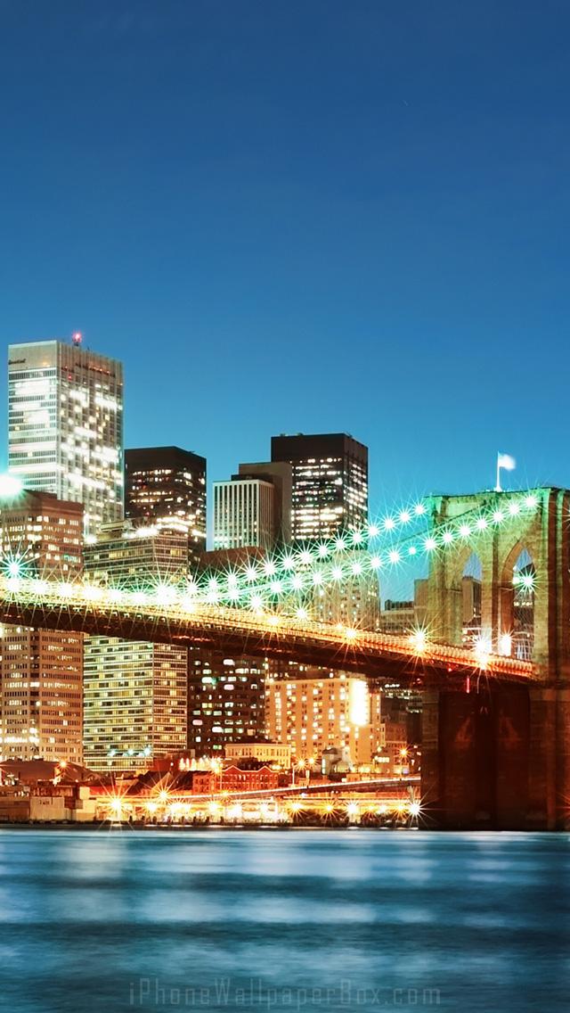 New York Brooklyn Bridge iPhone 5 6 wallpaper iPod wallpaper 640x1136