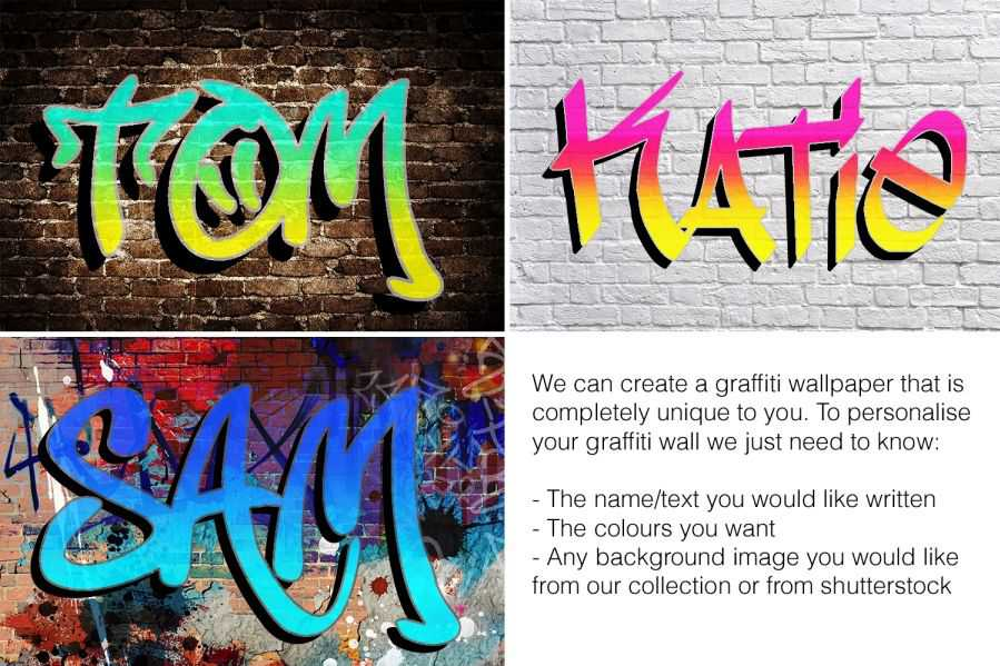 graffiti name custom printed wallpaper wall mural 5879 899x599