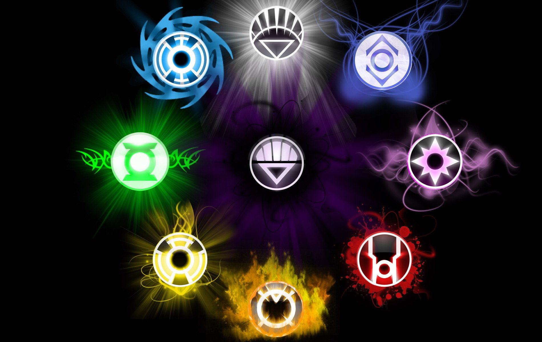 Yellow Lantern Black Lantern Blue Lantern Green Lantern Wallpaper 1900x1200