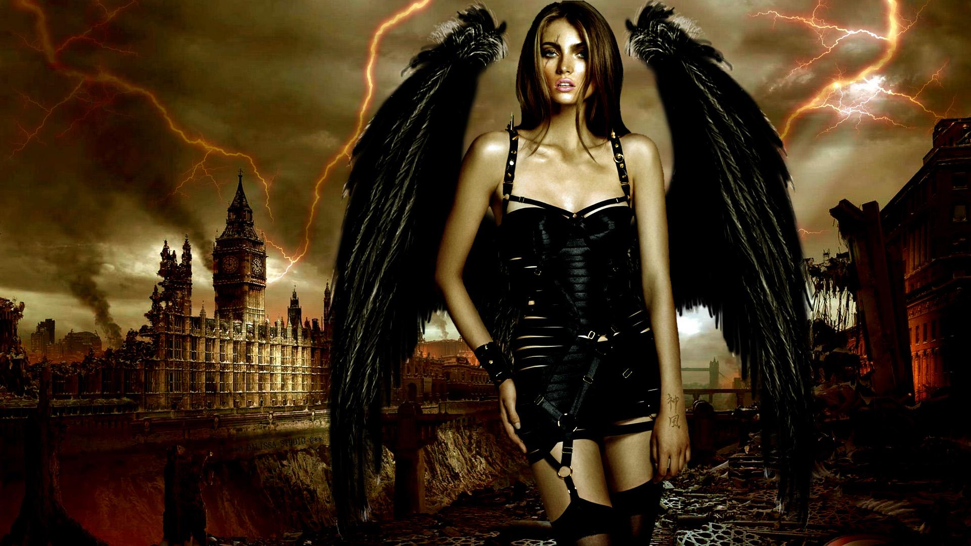 Dark horror sci fi fantasy gothic apocalyptic post angel wings 1920x1080