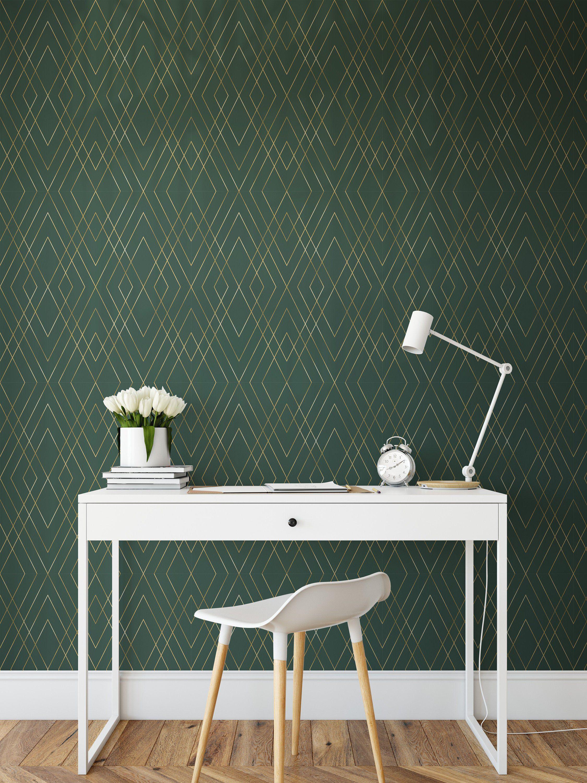 Green Gold Peel And Stick Wallpaper Self Adhesive Geometric 2250x3000